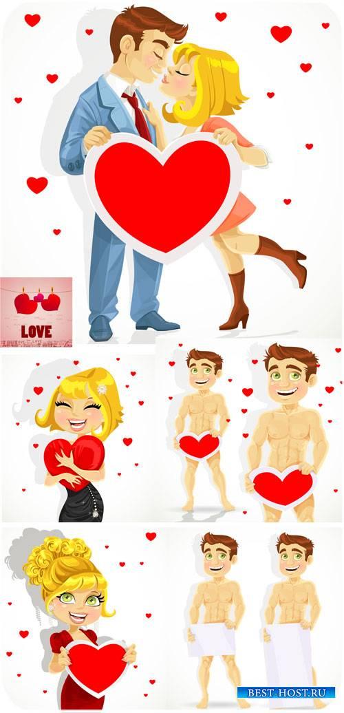 Влюбленная пара с сердцем - вектор