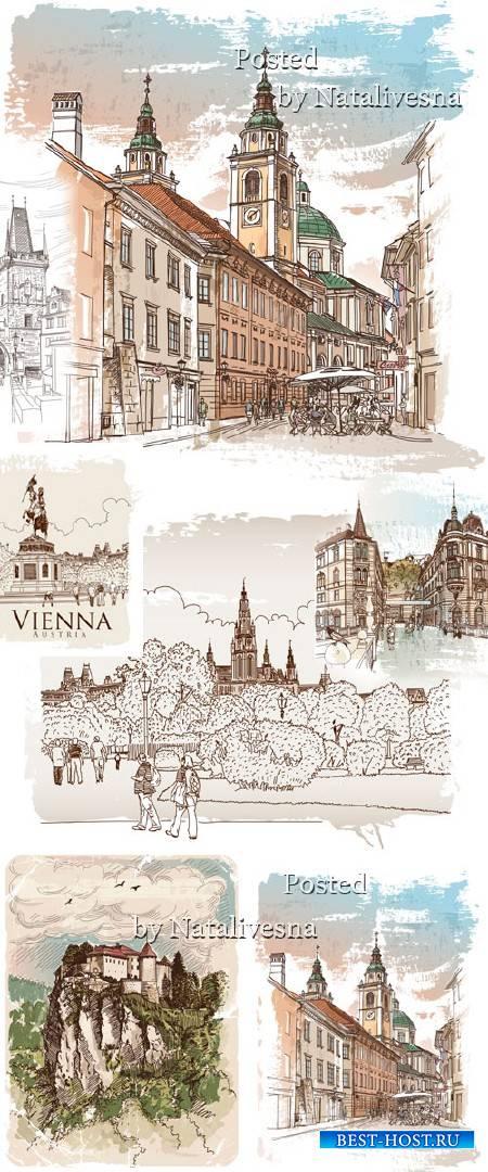Фоны города в Векторе с башнями