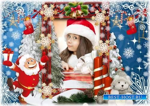 Детская зимняя рамка для фото - Снежная фантазия