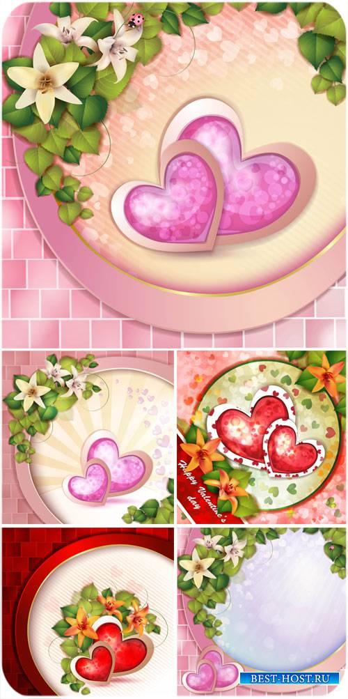 День святого Валентина в векторе, фоны с сердечками и цветочками