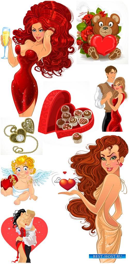 День святого Валентина в векторе, ангелочки, влюбленные пары