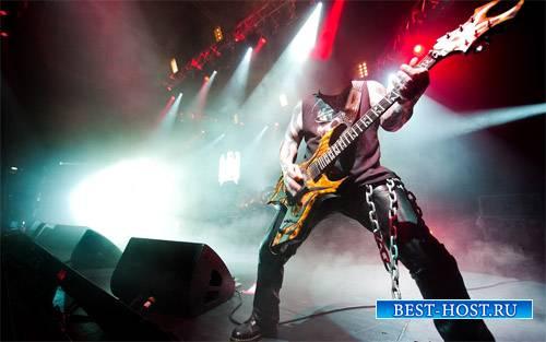 Шаблон для фотошопа - Звезда метала на концерте