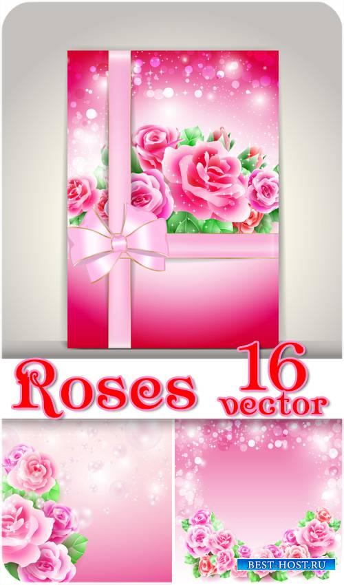 Розы, карточки с красивыми розами, векторные фоны