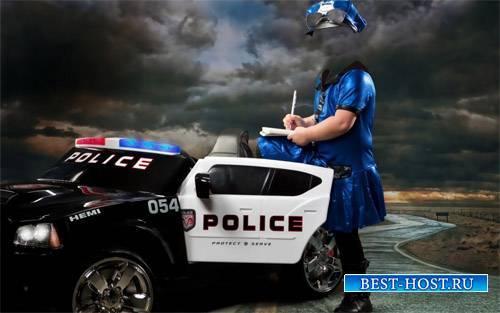 Шаблон для photoshop - Настоящая бесстрашная сотрудница полиции