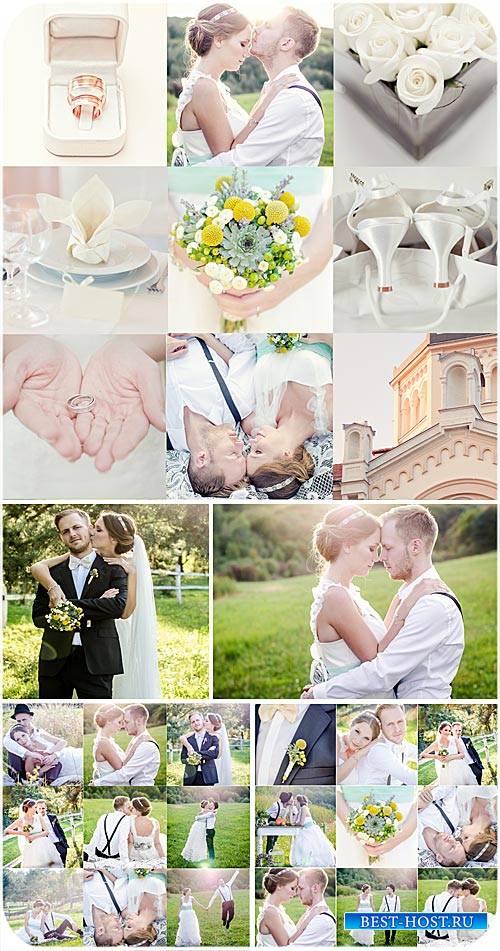 Свадебный коллаж, жених и невеста, цветы, обручальные кольца