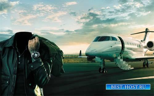 Шаблон psd - Богатый мужчина у собственного самолета