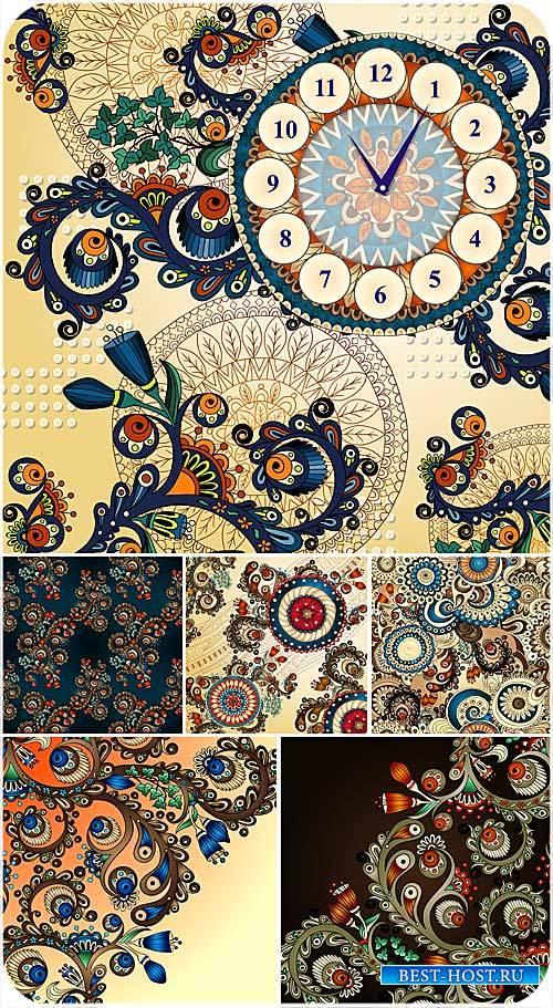 Красивые узоры, векторные фоны с цветами