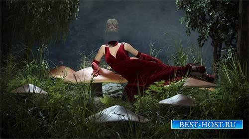 Шаблон для Photoshop - На сказочной поляне в красном красивом платье