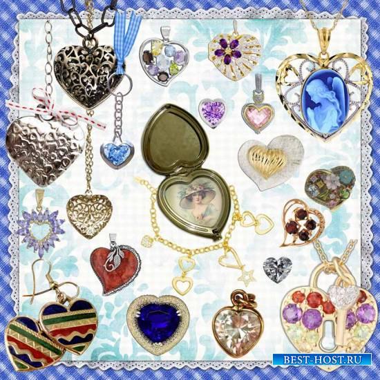 Сердечки – ювелирные украшения на прозрачном фоне