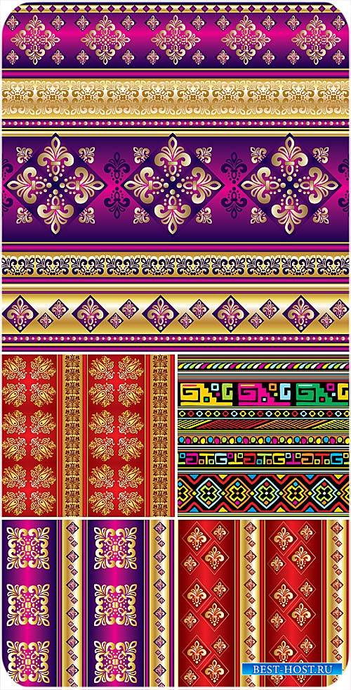 Золотые орнаменты на цветных векторных фонах
