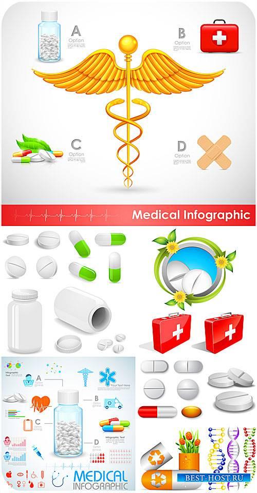 Медицина в векторе,  таблетки, днк, аптечка