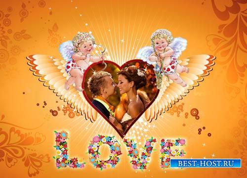 Рамка для фотошоп - Крепкая любовь двух сердец