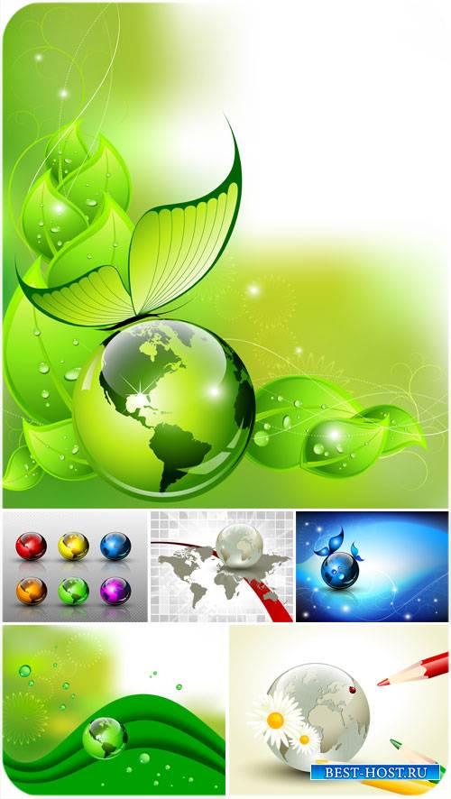 Природные фоны в векторе, планеты