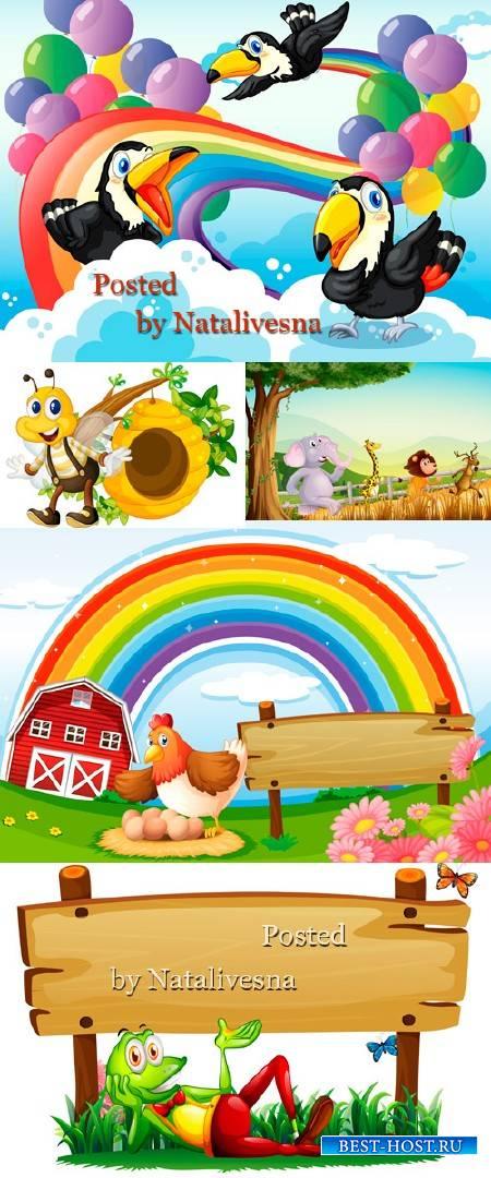 Детские фоны с шарами и  радугой в Векторе