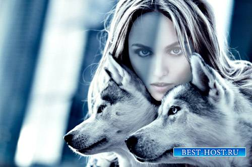 PSD шаблон для девушек - Девушка с двумя волками