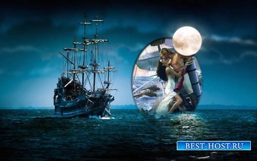 Рамка psd - Загадочный корабль при луне