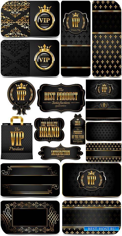 Вип карточки с золотым декором в векторе