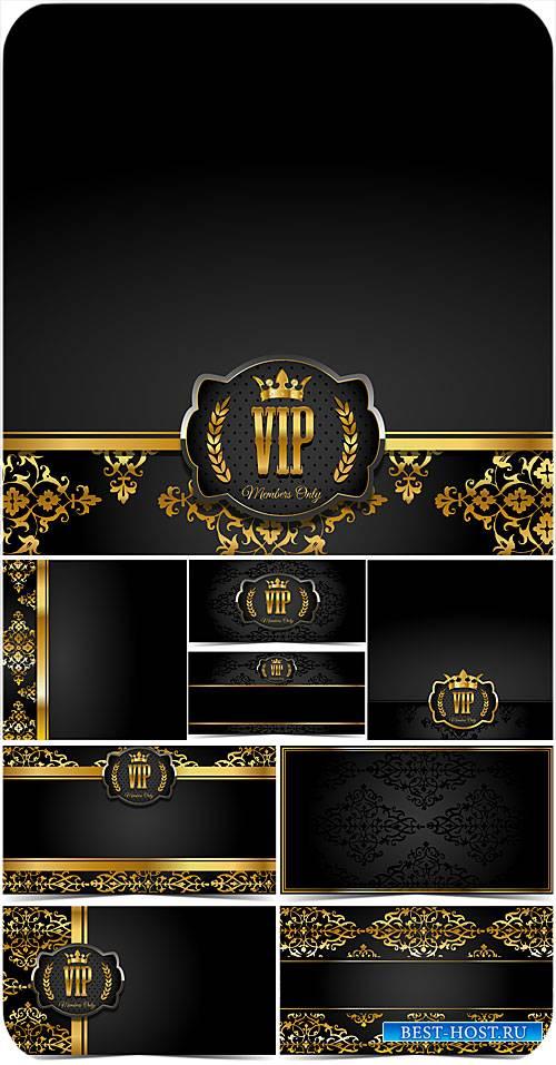 Черные фоны с золотым декором, вип карточки в векторе