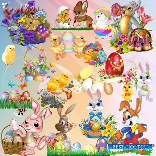 Сборка пасхального клипарта  — Зайцы и цыплята с яйцами