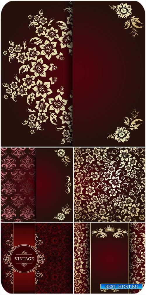 Векторные фоны с цветами и узорами, винтаж