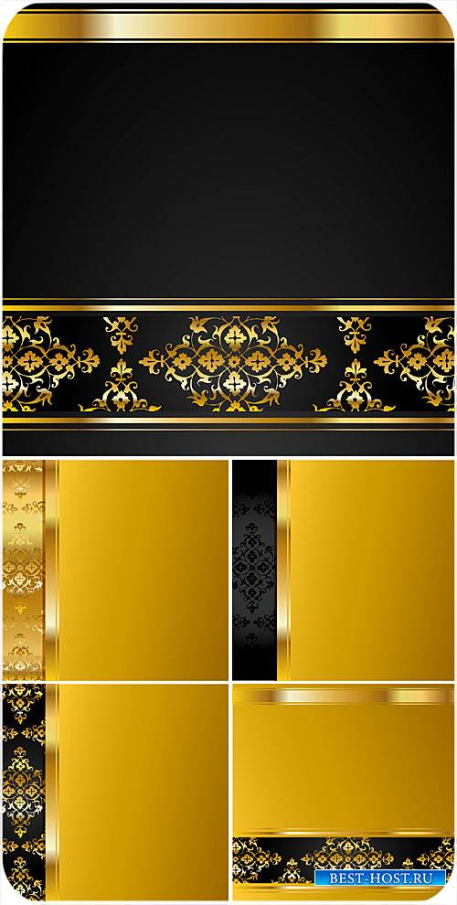 Золотые и черные векторные фоны с узорами