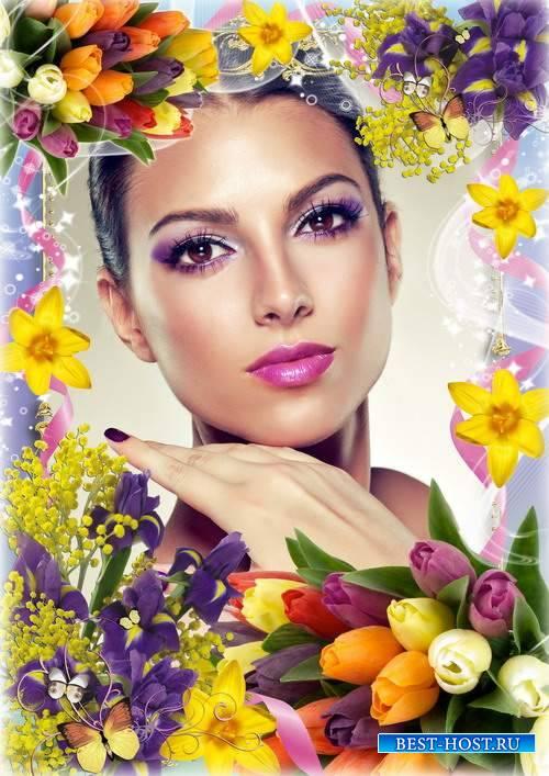Весенняя цветочная рамка для фото - Очарование цветов