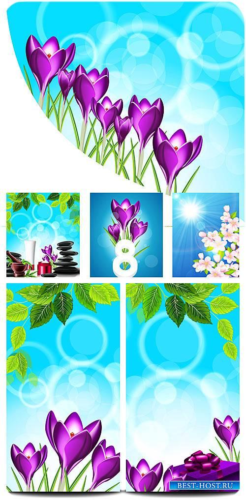 Весна в векторе, крокусы на 8 марта