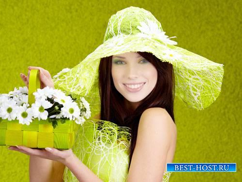 Женский шаблон PSD - Девушка в красивой шляпке