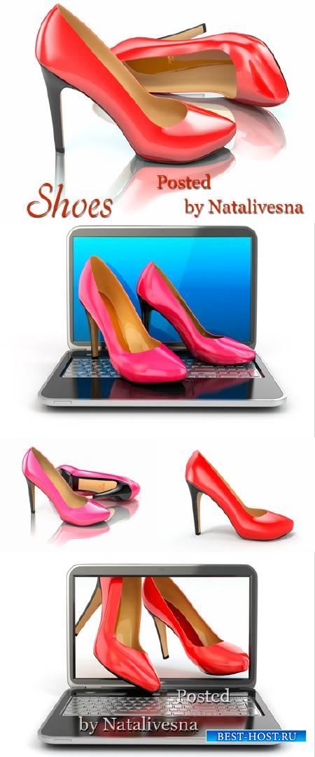 Красно – розовые туфли  на белом фоне