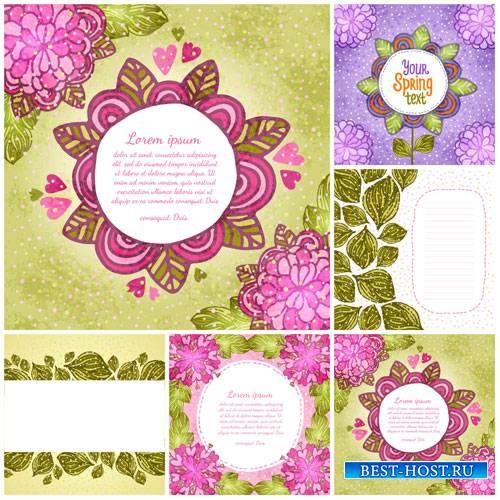 Векторные фоны с цветами и листиками