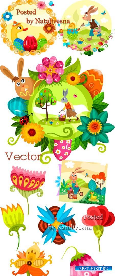 Праздничные фоны в Векторе с зайками и утятами