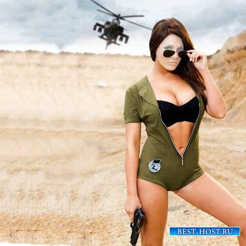 Шаблон женский - Смелая брюнетка с оружием