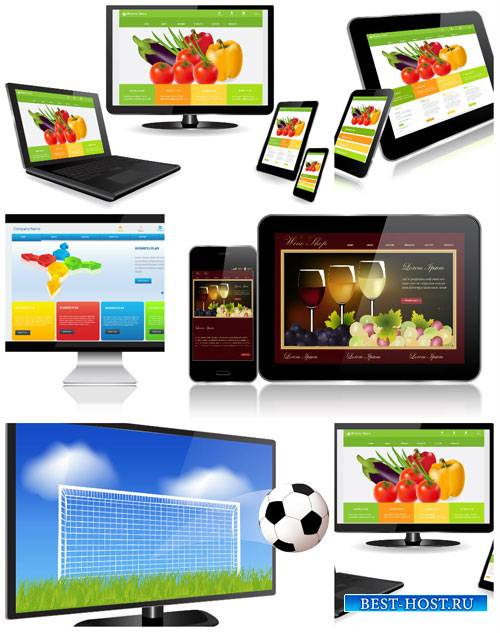 Ноутбук, планшет, смартфон в векторе