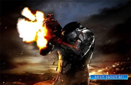 Шаблон psd - Стрельба с автомата