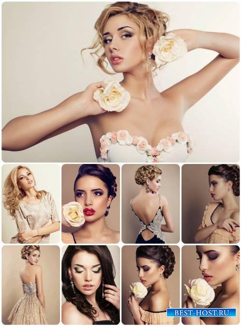 Красивые и стильные девушки с цветами - сток фото / Beautiful and stylish g ...