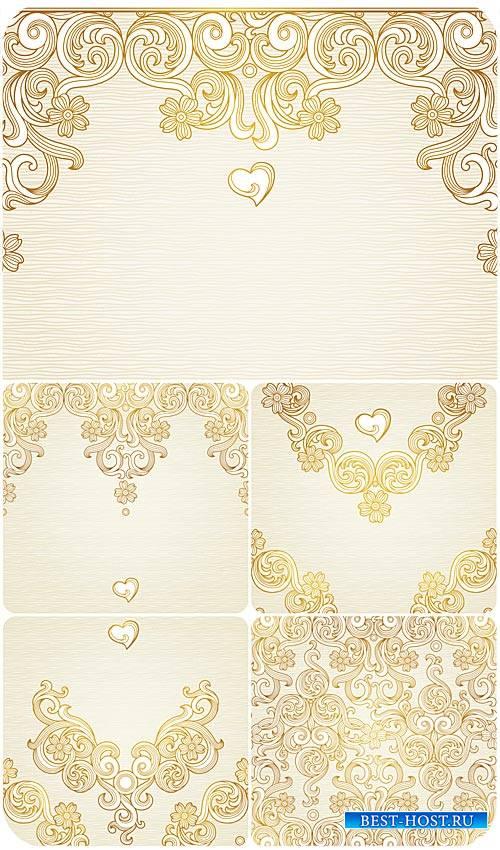 Светлые векторные фоны с золотыми узорами / Bright vector background with golden patterns
