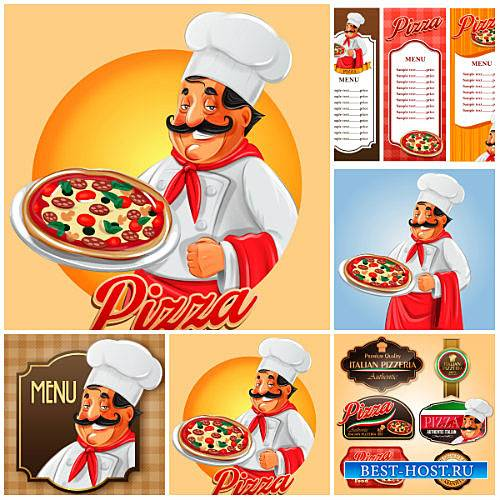 Пицца, повар с пиццей, меню в векторе / Pizza chef with pizza, menu vector