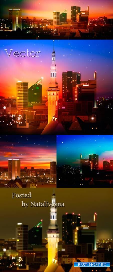 Векторные фоны – Ночной город в свете Луны/ Vector - Night city