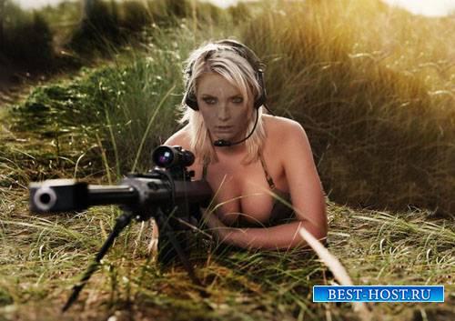 Шаблон для фотомонтажа - Белокурая снайпер с винтовкой в засаде