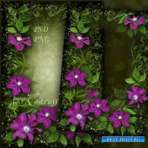 Женская романтическая рамка для фотошопа - Яркие, чудесные цветы