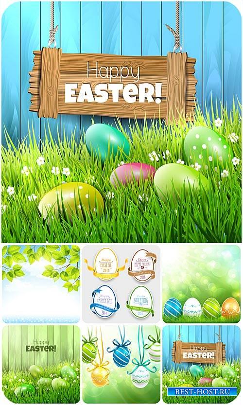 C пасхой, векторные фоны с пасхальными элементами / Happy Easter, Easter ba ...