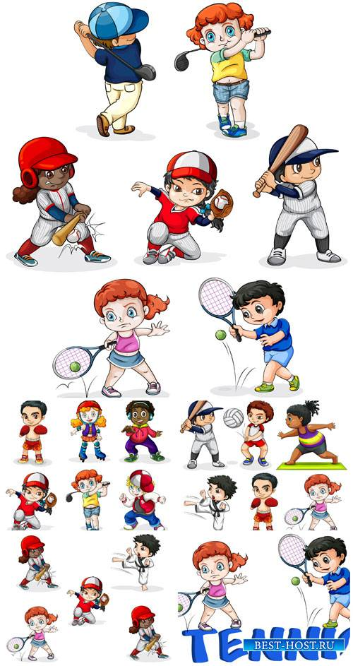 Дети и спорт в векторе / Children and sport vector