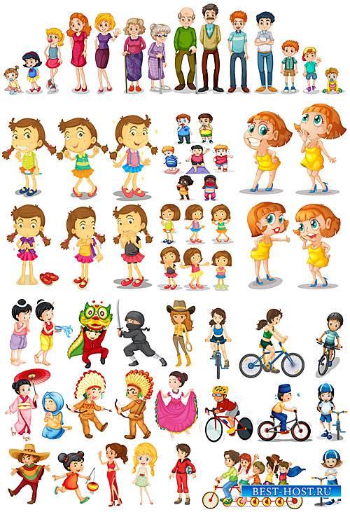 Люди в векторе, дети, мужчины и женщины / People in the vector