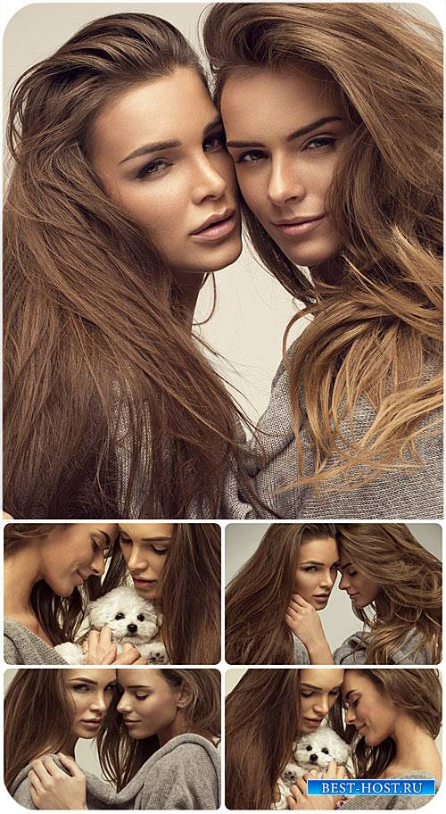 Красивые девушки с маленьким щенком / Beautiful girl with a small puppy - Stock photo