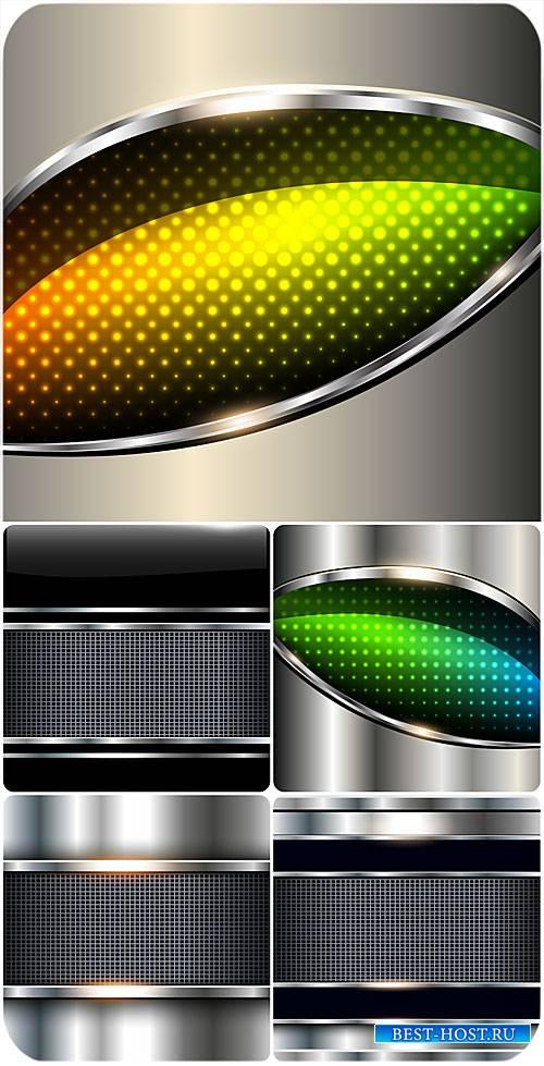 Металлические векторные фоны с цветными вставками / Metal vector background ...