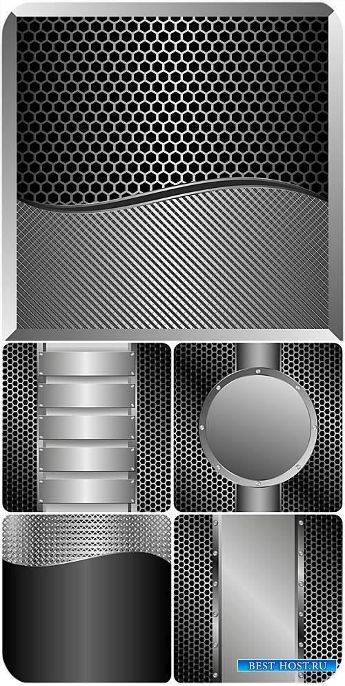 Серебристые металлические фоны в векторе / Silver metallic background vector