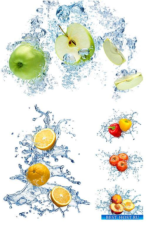Фрукты, ягоды и овощи в брызгах воды / Fruit, berries and vegetables in a spray of water - Stock Photo