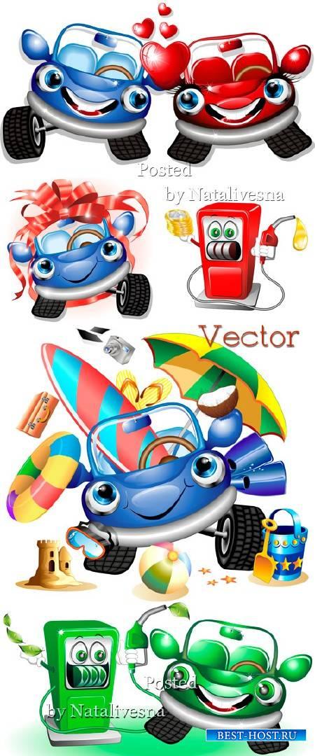 Забавные машинки с сердечками и бантами в векторе