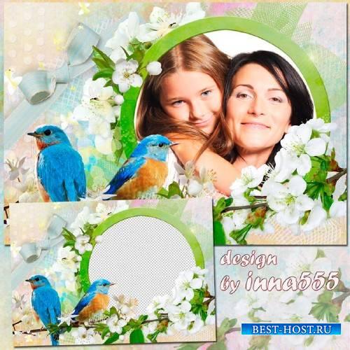 Весенняя рамка - Пение птиц нам дарит весна