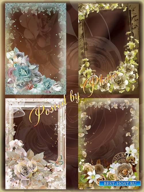 Набор рамок для фото - Винтажные цветы